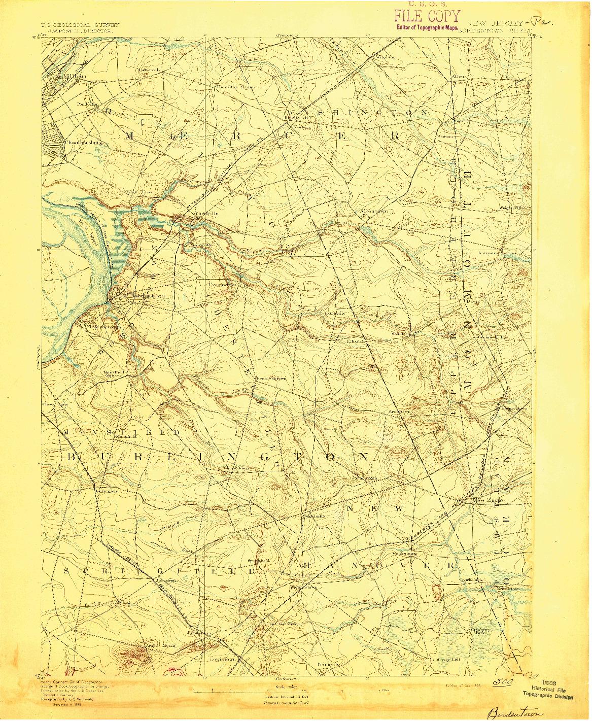 USGS 1:62500-SCALE QUADRANGLE FOR BORDENTOWN, NJ 1893