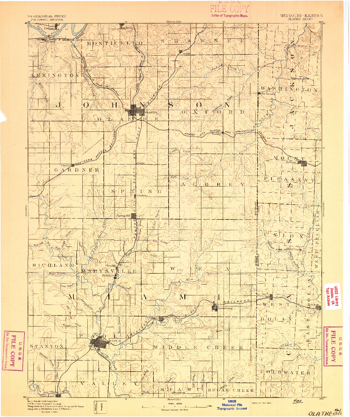 USGS 1:125000-SCALE QUADRANGLE FOR OLATHE, MO 1893