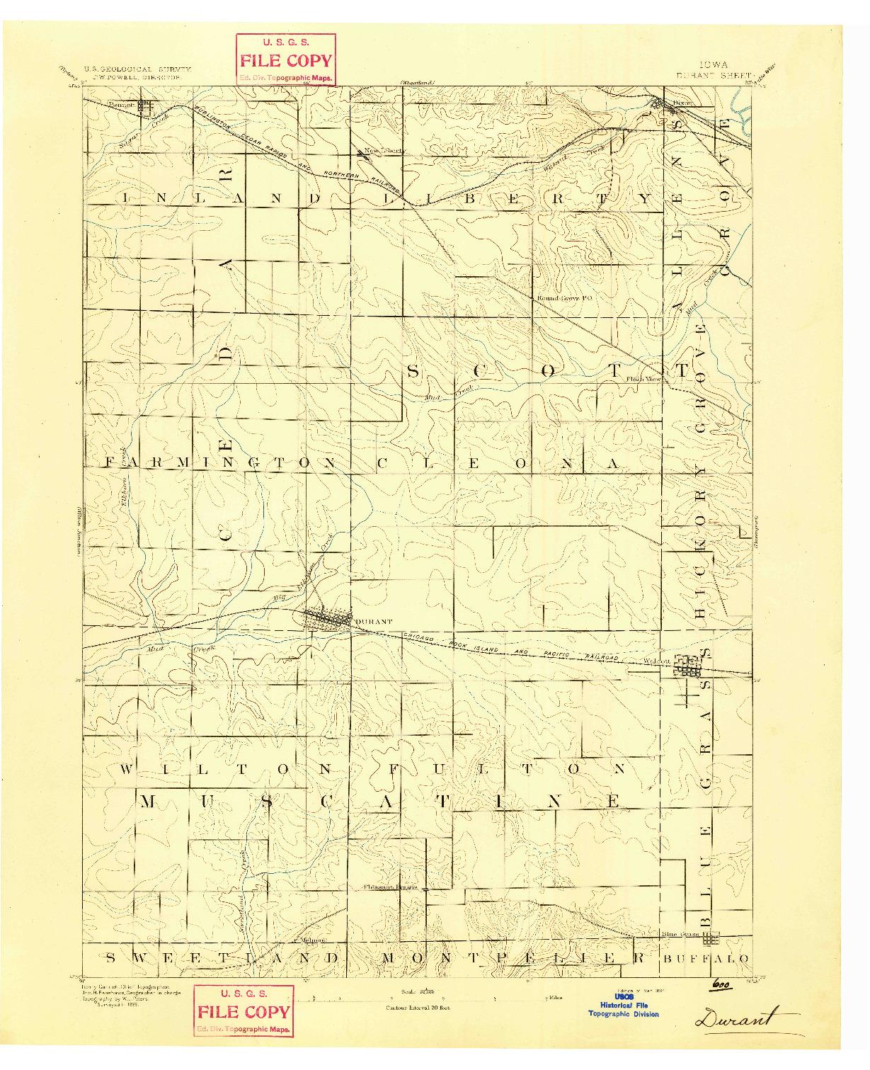 USGS 1:62500-SCALE QUADRANGLE FOR DURANT, IA 1894