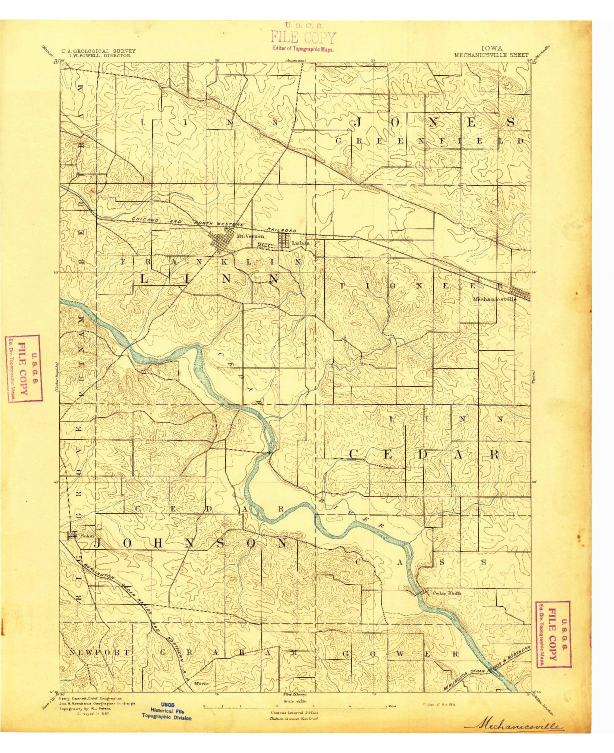 USGS 1:62500-SCALE QUADRANGLE FOR MECHANICSVILLE, IA 1894