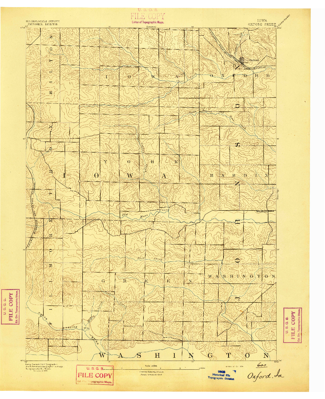 USGS 1:62500-SCALE QUADRANGLE FOR OXFORD, IA 1894