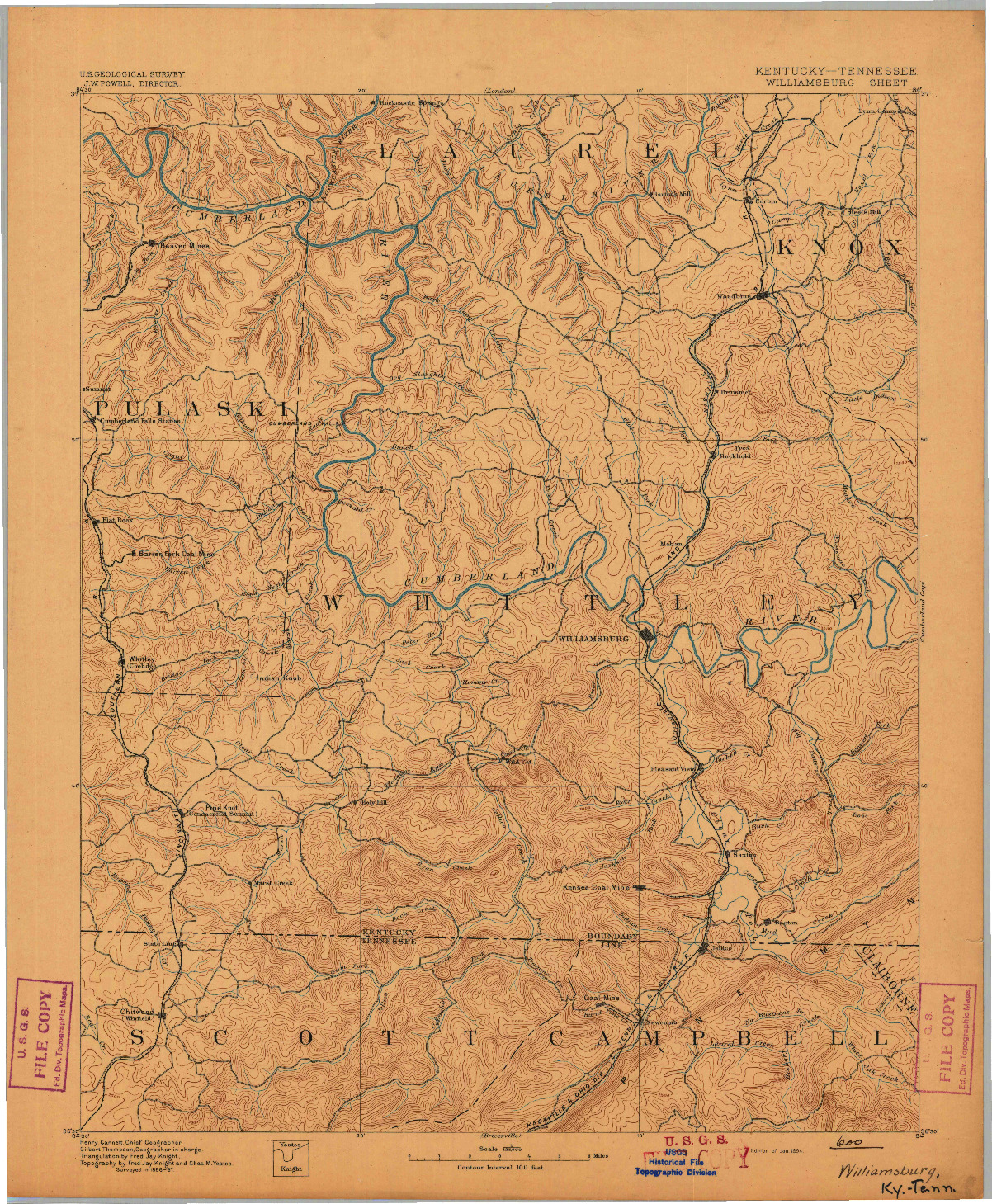 USGS 1:125000-SCALE QUADRANGLE FOR WILLIAMSBURG, KY 1894