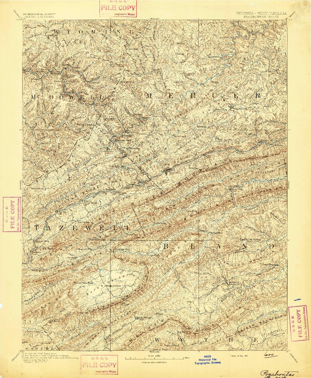 USGS 1:125000-SCALE QUADRANGLE FOR POCAHONTAS, VA 1894