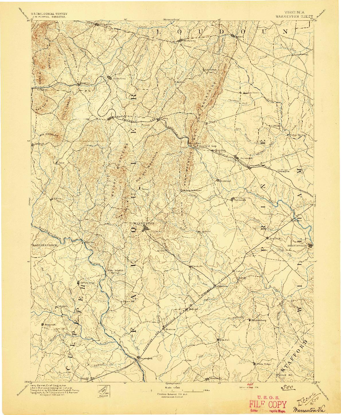 USGS 1:125000-SCALE QUADRANGLE FOR WARRENTON, VA 1894
