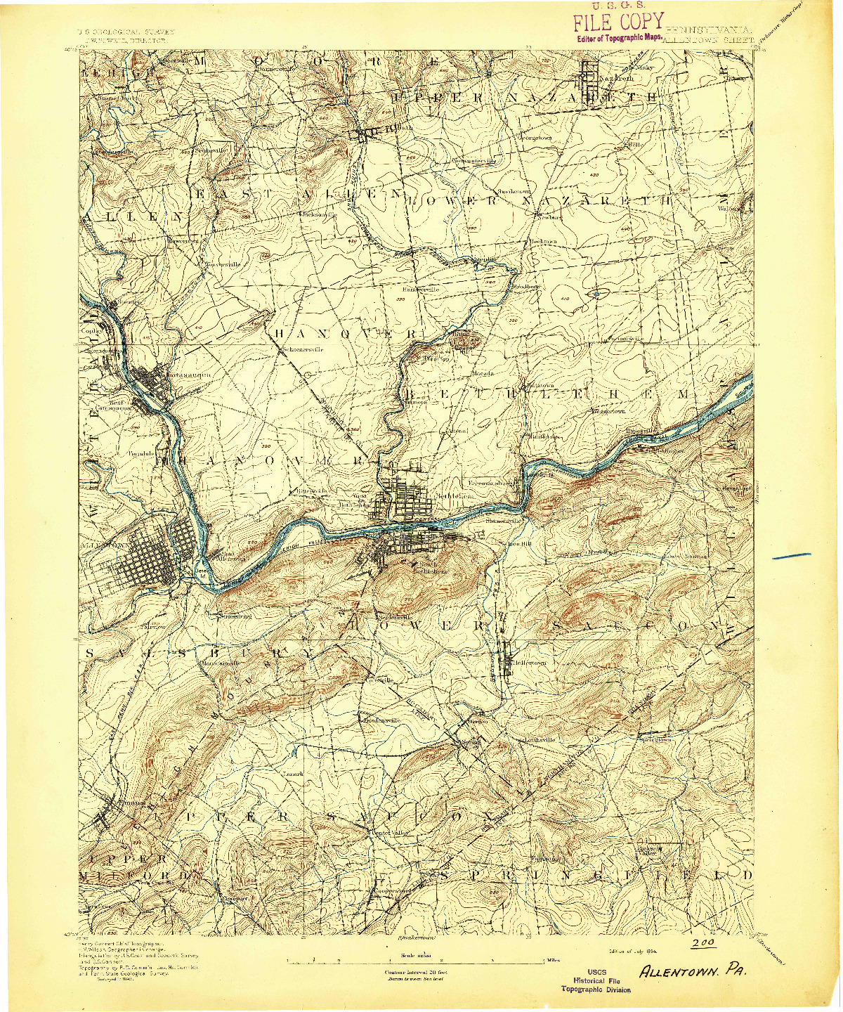 USGS 1:62500-SCALE QUADRANGLE FOR ALLENTOWN, PA 1894