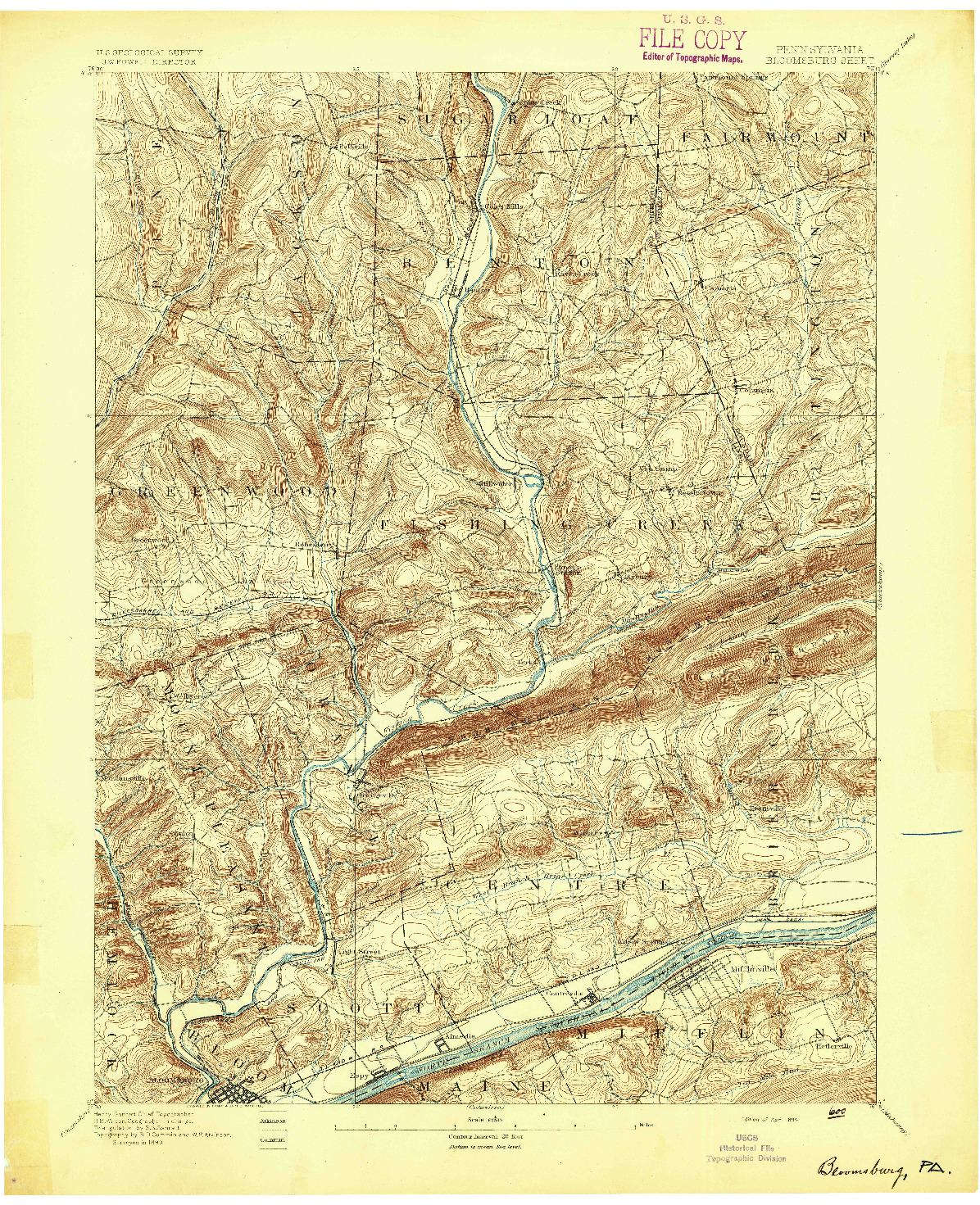 USGS 1:62500-SCALE QUADRANGLE FOR BLOOMSBURG, PA 1894