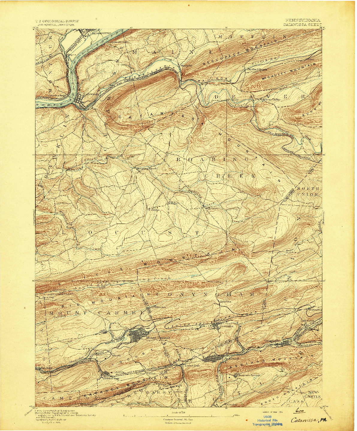 USGS 1:62500-SCALE QUADRANGLE FOR CATAWISSA, PA 1894