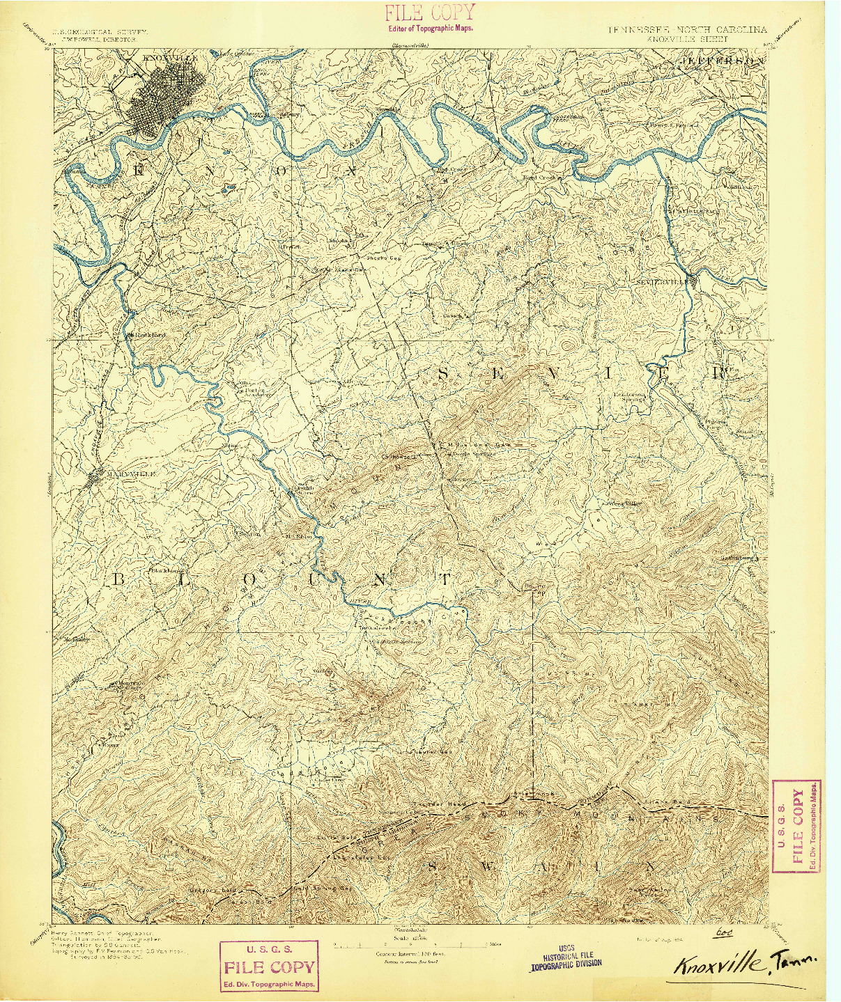 USGS 1:125000-SCALE QUADRANGLE FOR KNOXVILLE, TN 1894