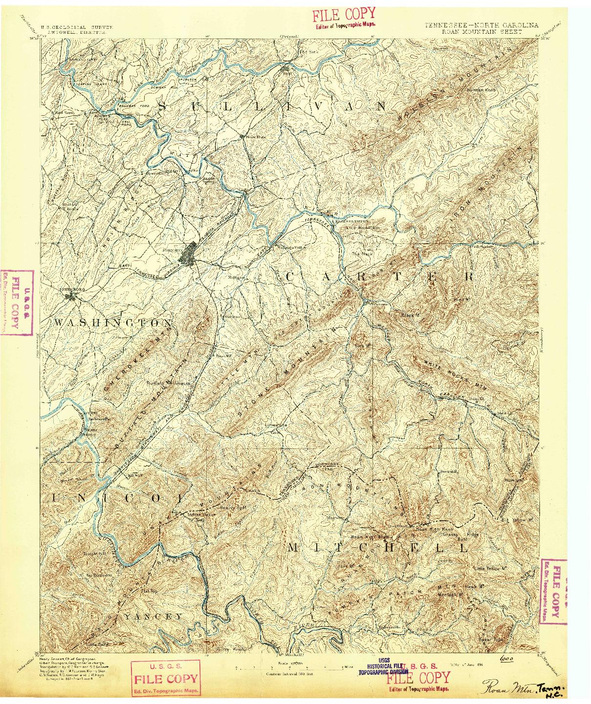 USGS 1:125000-SCALE QUADRANGLE FOR ROAN MOUNTAIN, TN 1894
