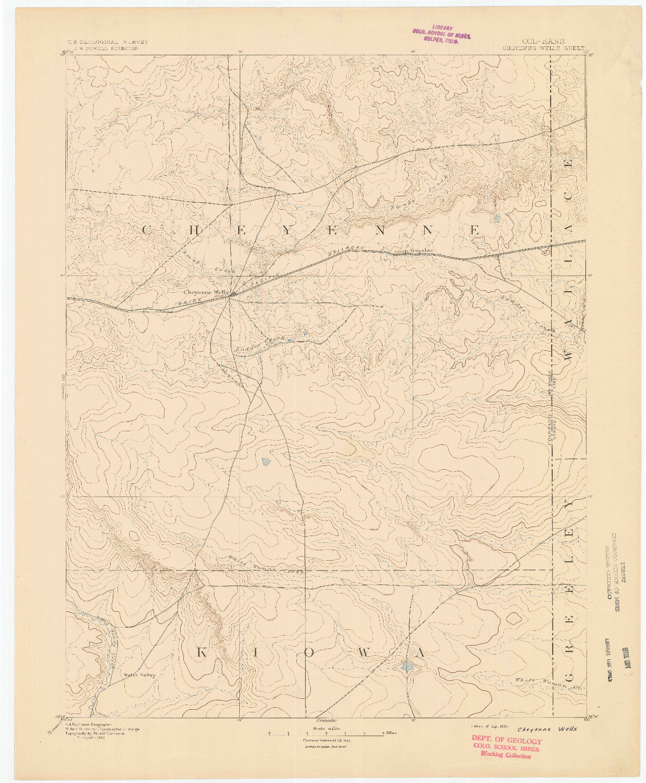 USGS 1:125000-SCALE QUADRANGLE FOR CHEYENNE WELLS, CO 1894