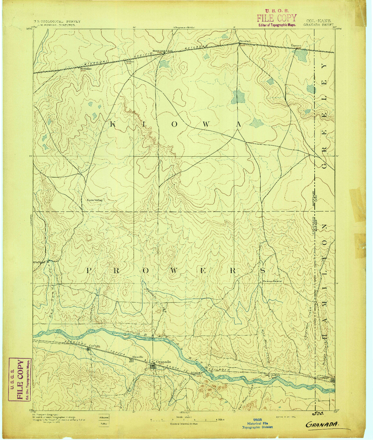 USGS 1:125000-SCALE QUADRANGLE FOR GRANADA, CO 1894