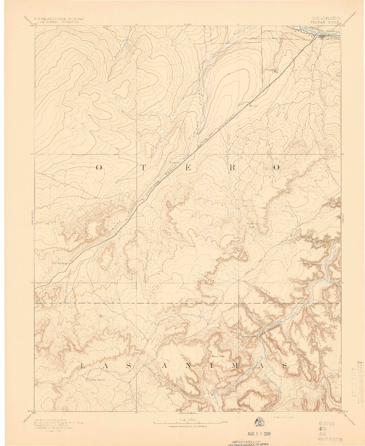 USGS 1:125000-SCALE QUADRANGLE FOR TIMPAS, CO 1894