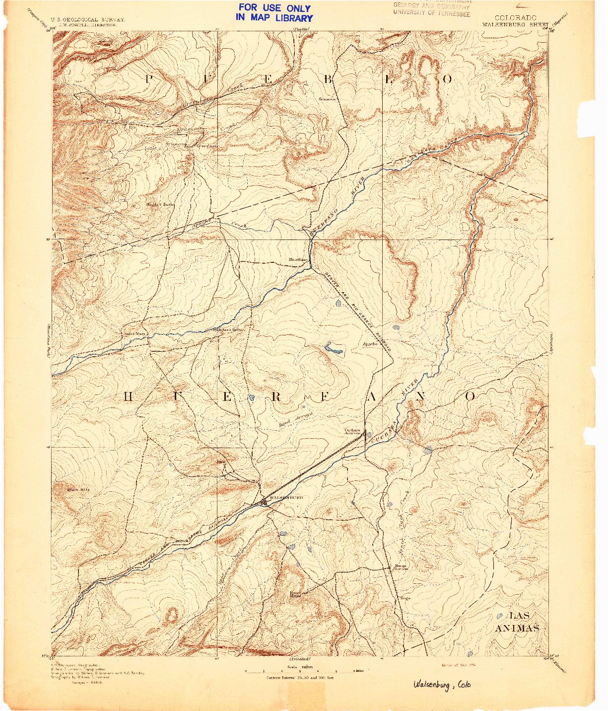 USGS 1:125000-SCALE QUADRANGLE FOR WALSENBURG, CO 1894