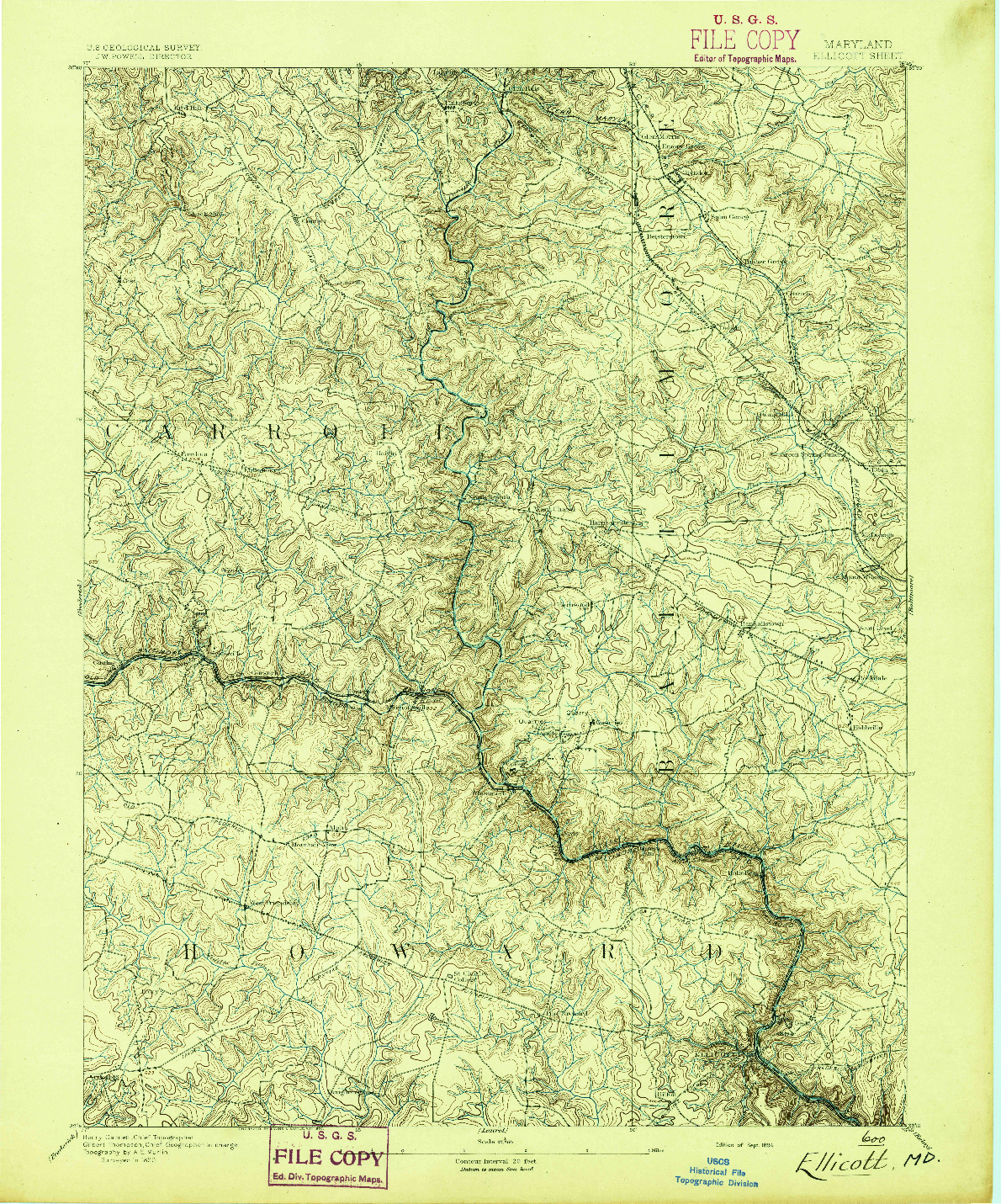 USGS 1:62500-SCALE QUADRANGLE FOR ELLICOTT, MD 1894