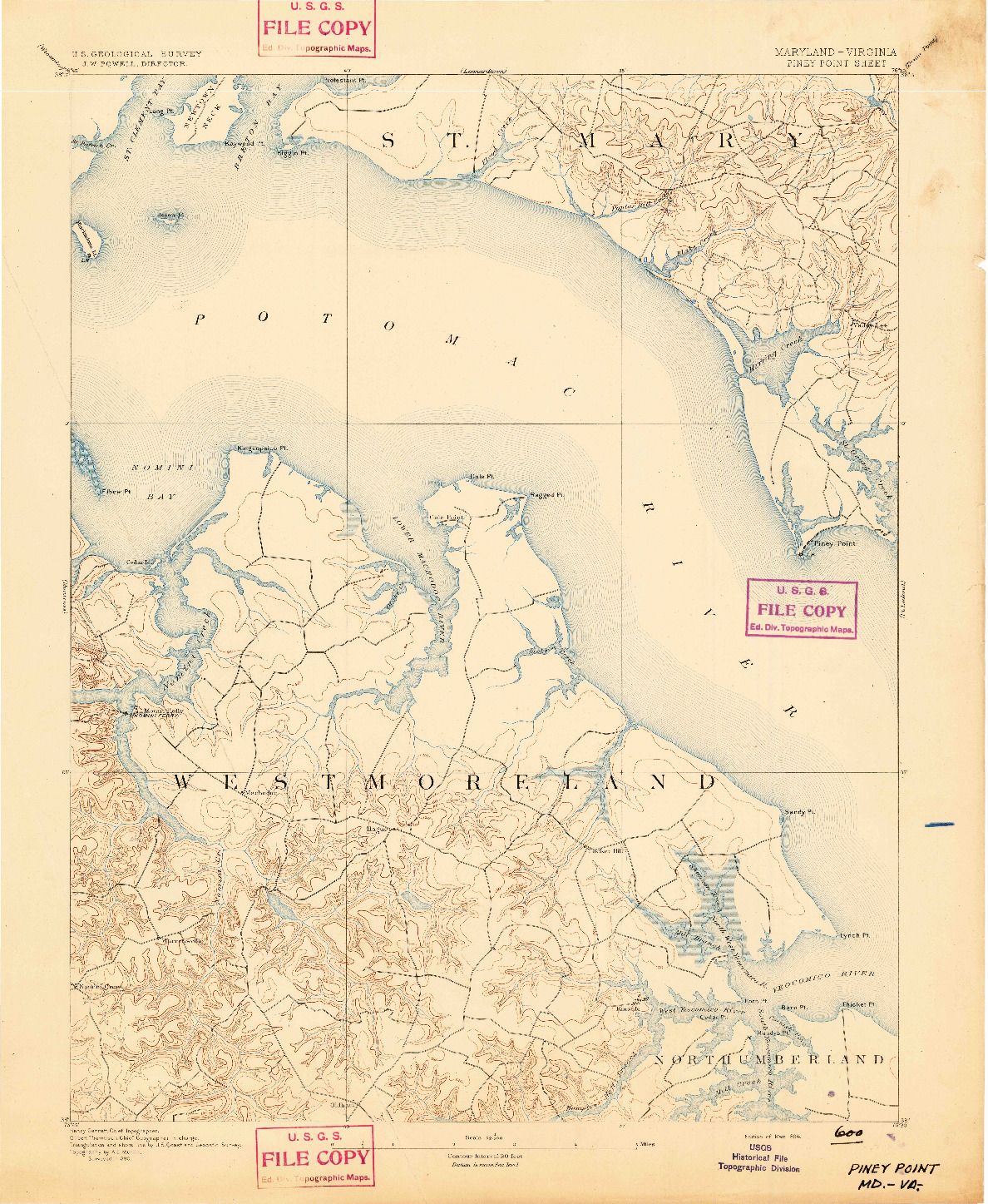USGS 1:62500-SCALE QUADRANGLE FOR PINEY POINT, MD 1894