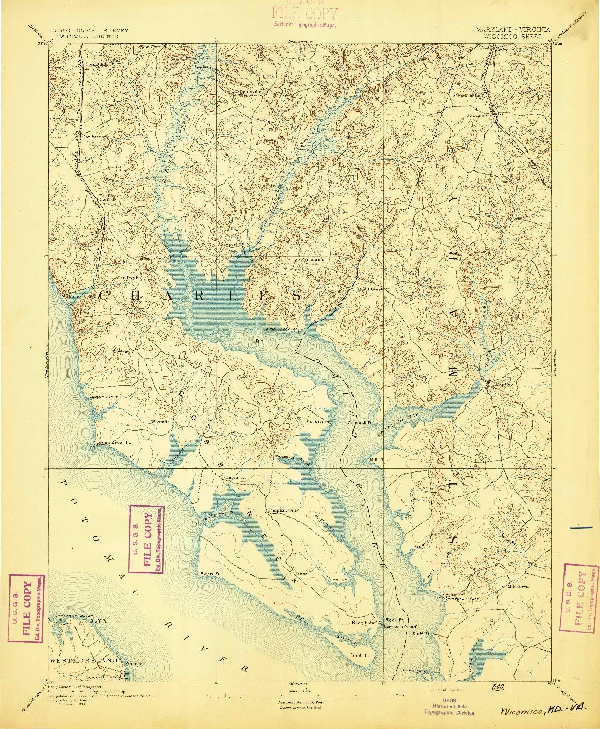 USGS 1:62500-SCALE QUADRANGLE FOR WICOMICO, MD 1894