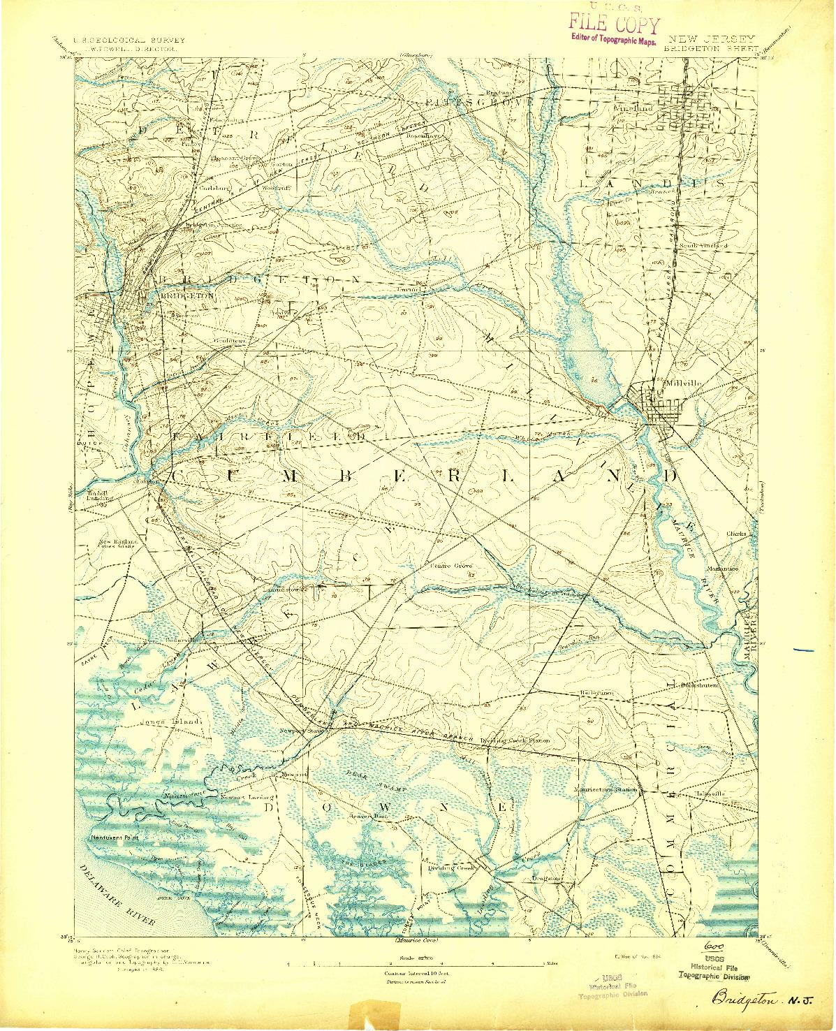 USGS 1:62500-SCALE QUADRANGLE FOR BRIDGETON, NJ 1894