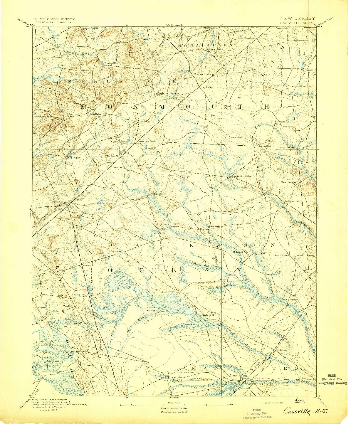 USGS 1:62500-SCALE QUADRANGLE FOR CASSVILLE, NJ 1894