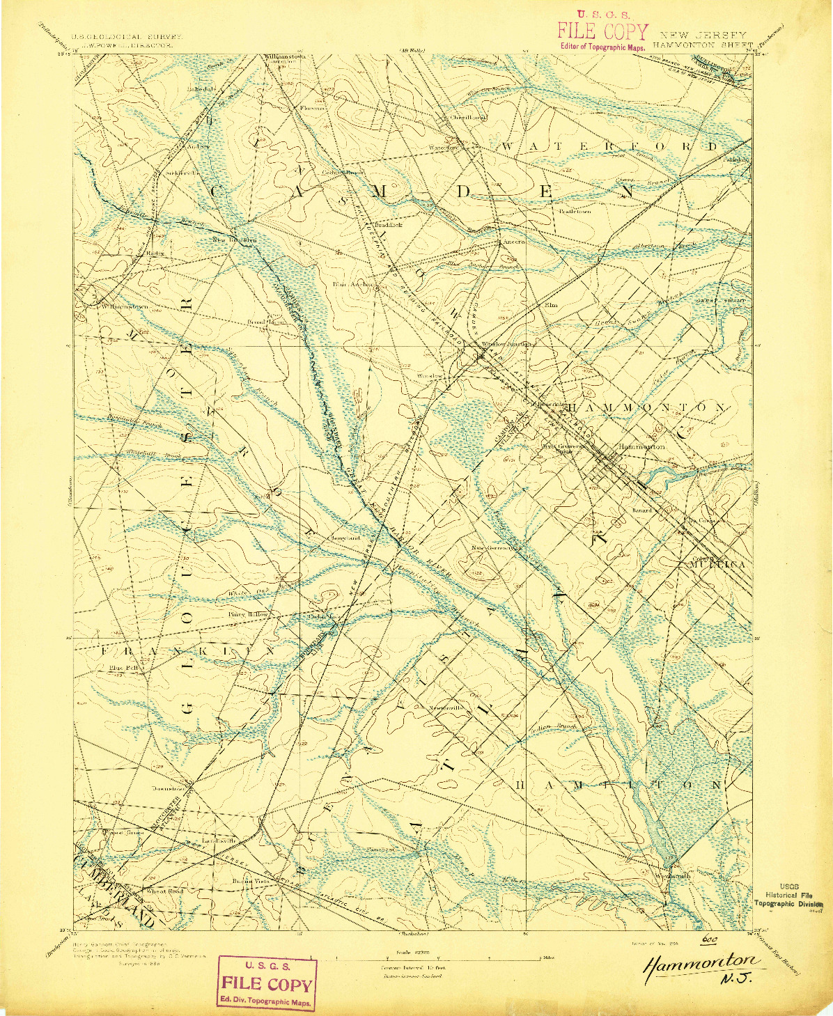 USGS 1:62500-SCALE QUADRANGLE FOR HAMMONTON, NJ 1894