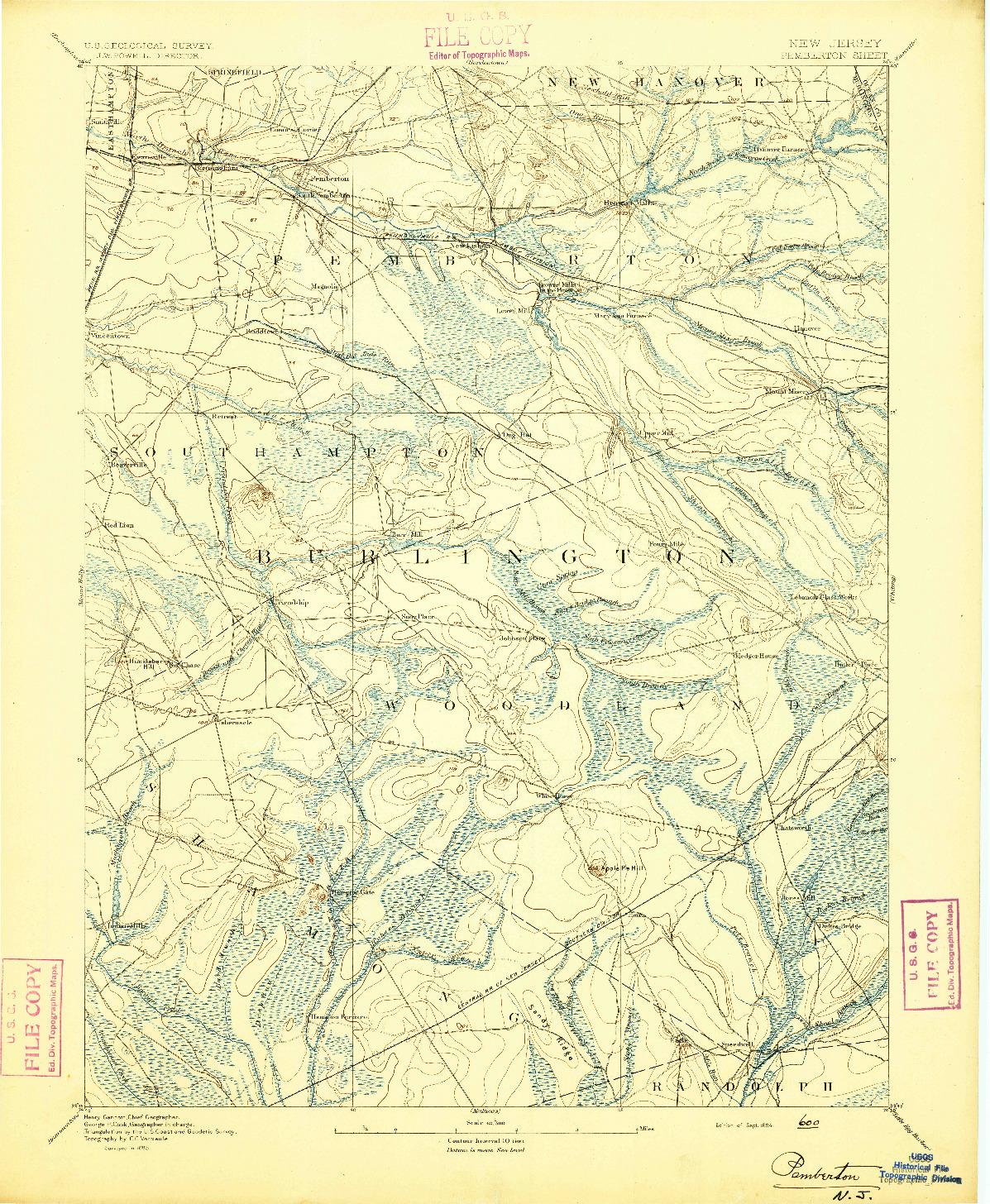 USGS 1:62500-SCALE QUADRANGLE FOR PEMBERTON, NJ 1894