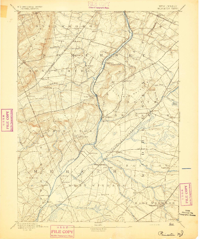 USGS 1:62500-SCALE QUADRANGLE FOR PRINCETON, NJ 1894