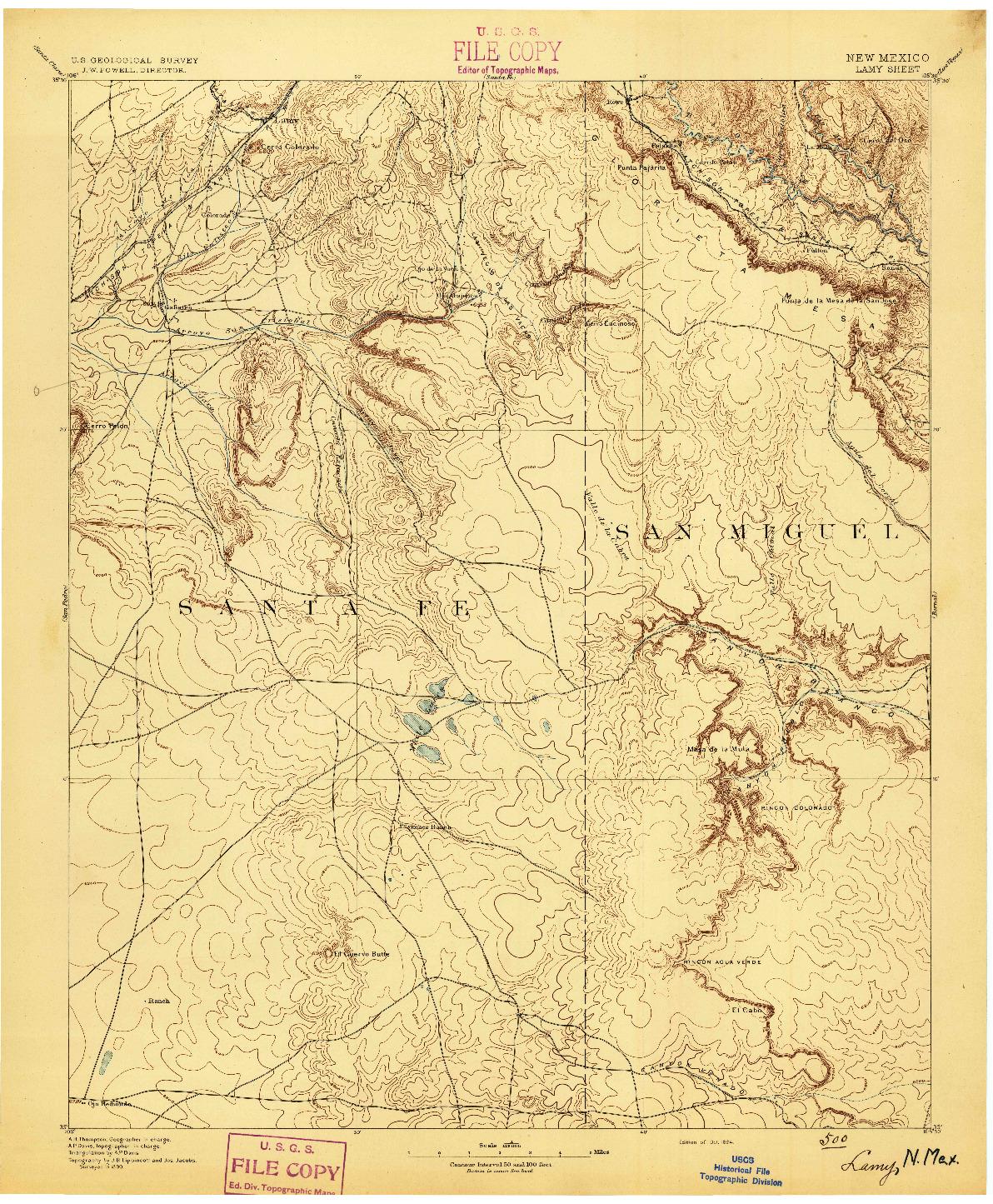 USGS 1:125000-SCALE QUADRANGLE FOR LAMY, NM 1894