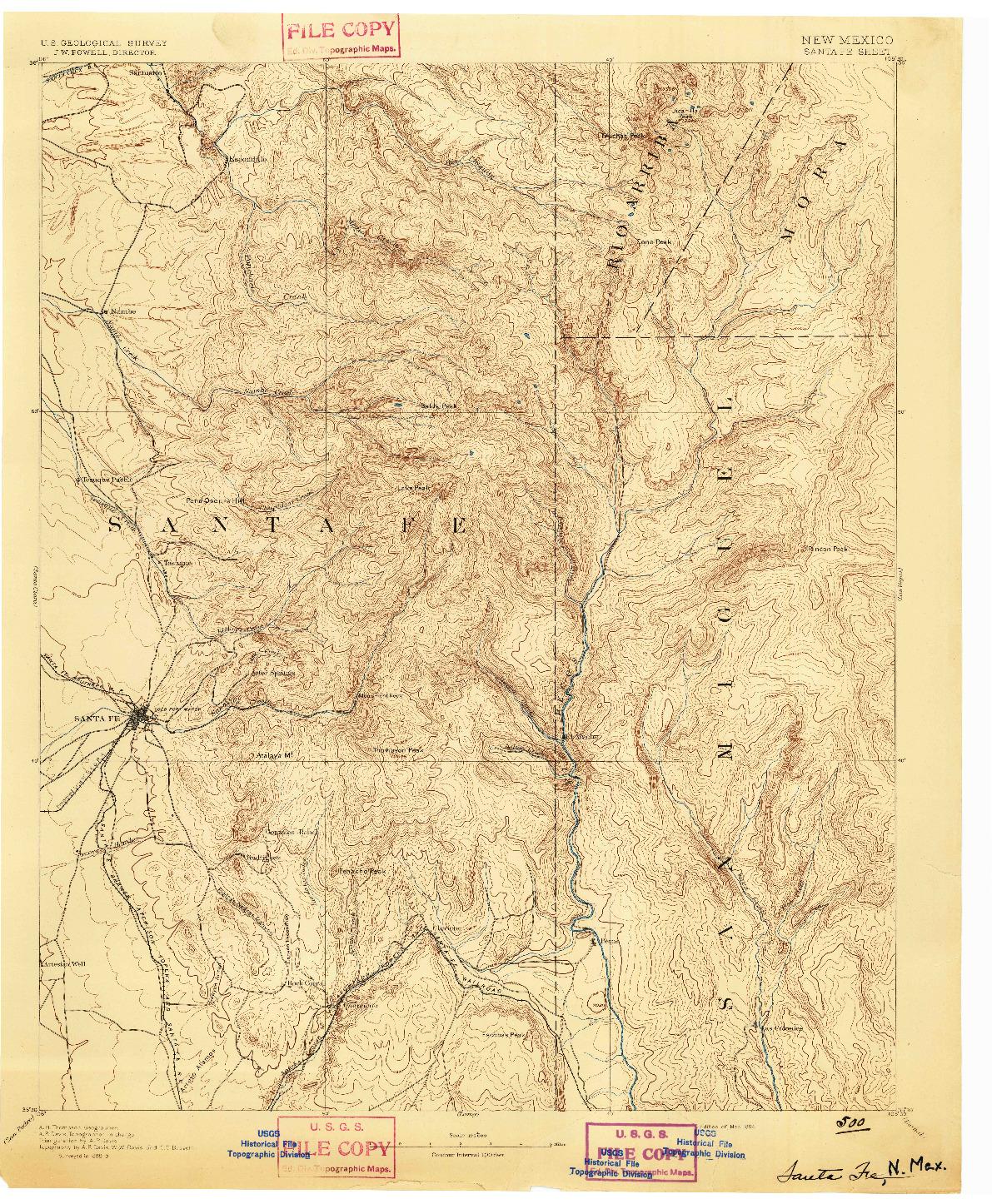 USGS 1:125000-SCALE QUADRANGLE FOR SANTA FE, NM 1894