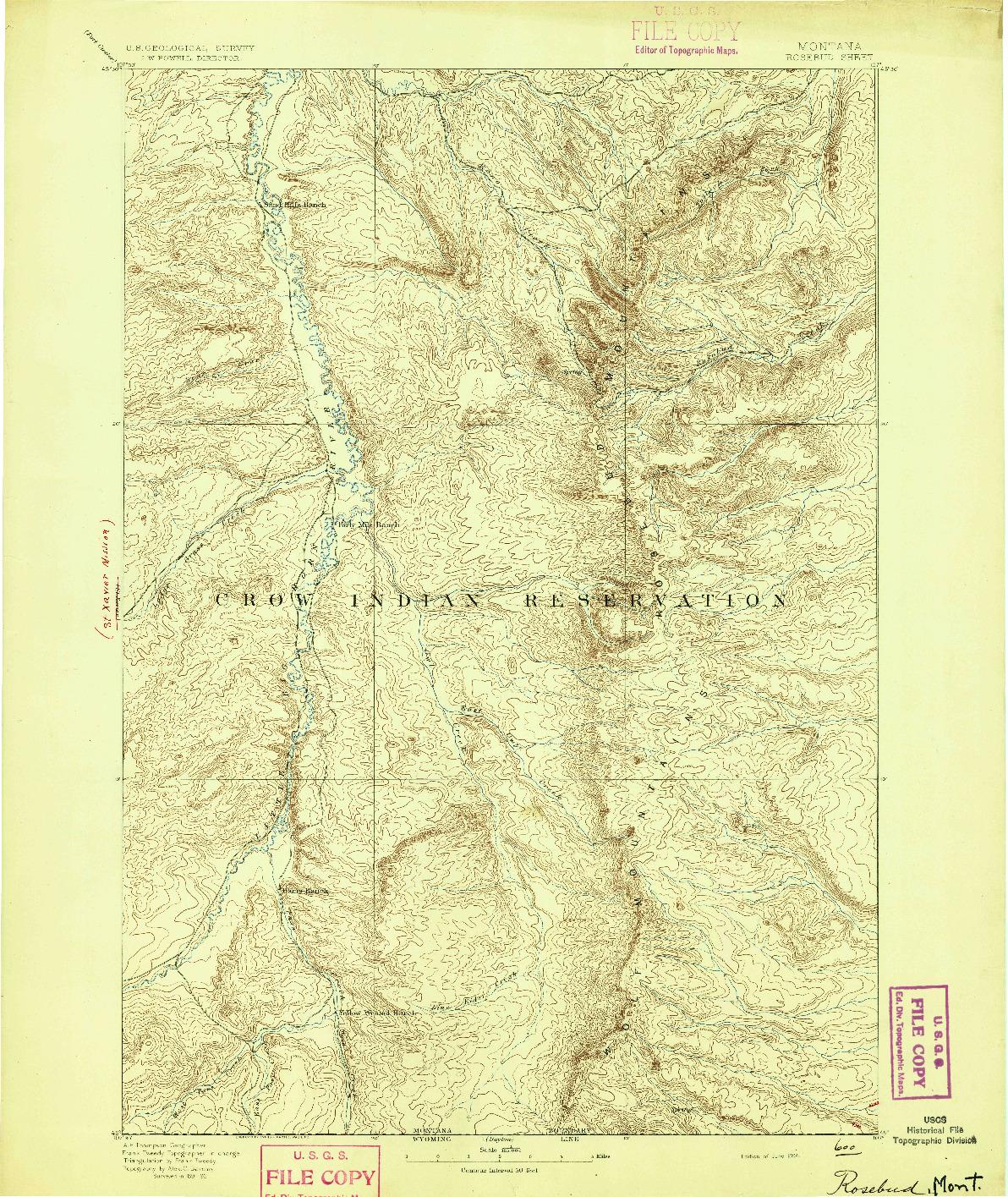 USGS 1:125000-SCALE QUADRANGLE FOR ROSEBUD, MT 1894