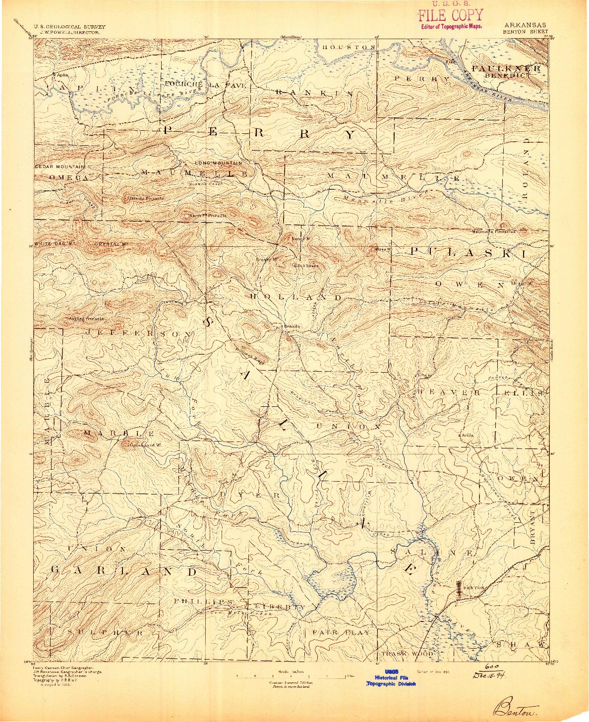 USGS 1:125000-SCALE QUADRANGLE FOR BENTON, AR 1894