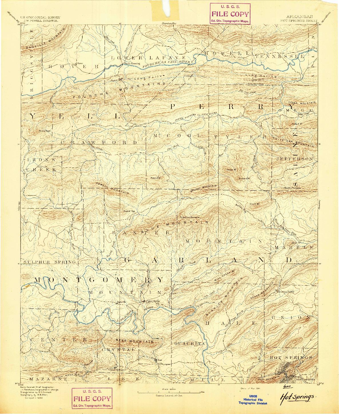 USGS 1:125000-SCALE QUADRANGLE FOR HOT SPRINGS, AR 1894