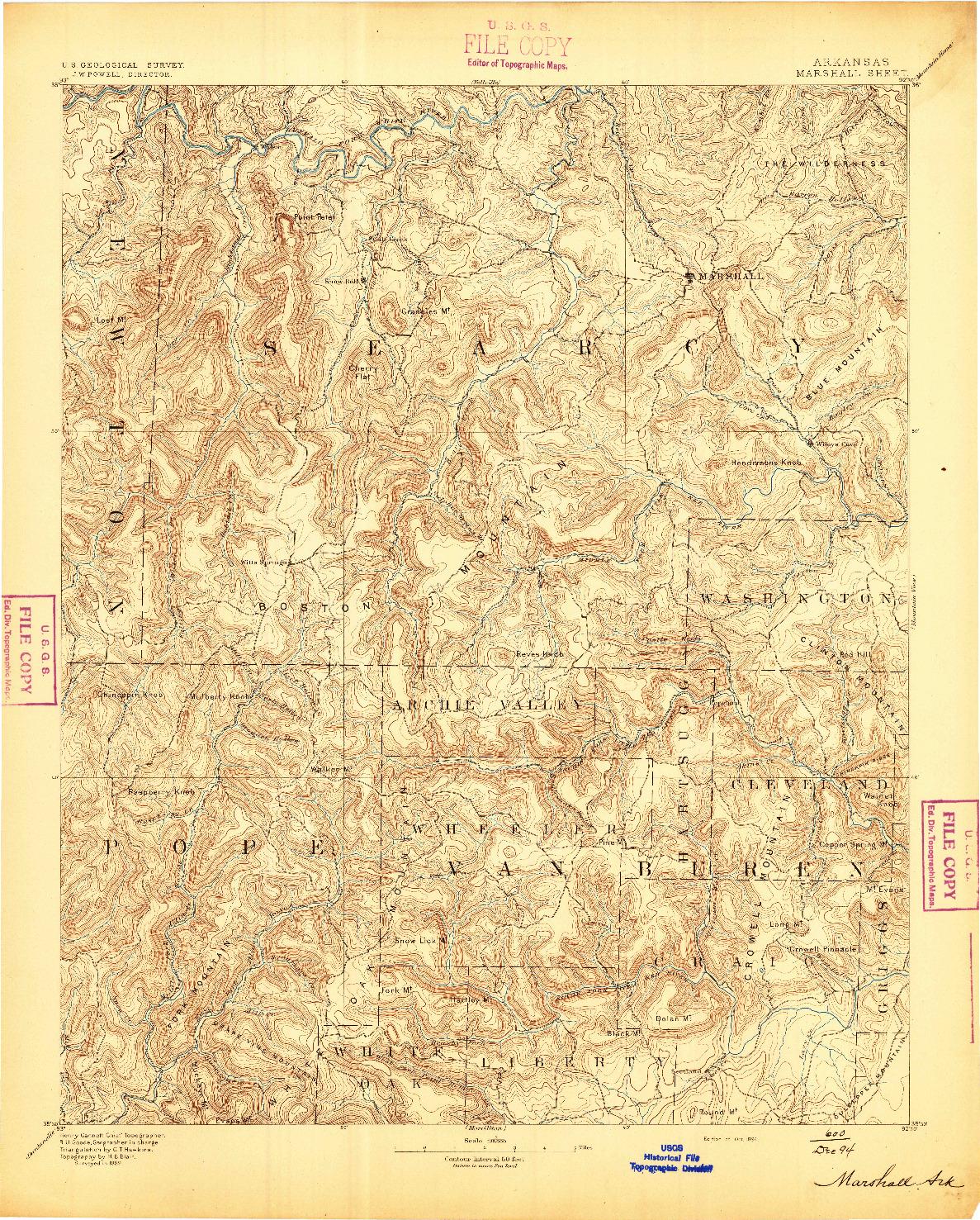 USGS 1:125000-SCALE QUADRANGLE FOR MARSHALL, AR 1894