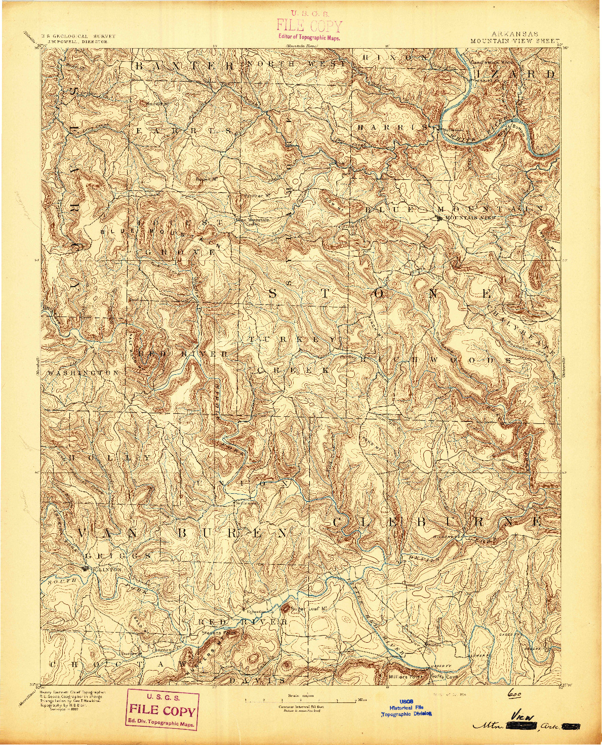 USGS 1:125000-SCALE QUADRANGLE FOR MOUNTAIN VIEW, AR 1894