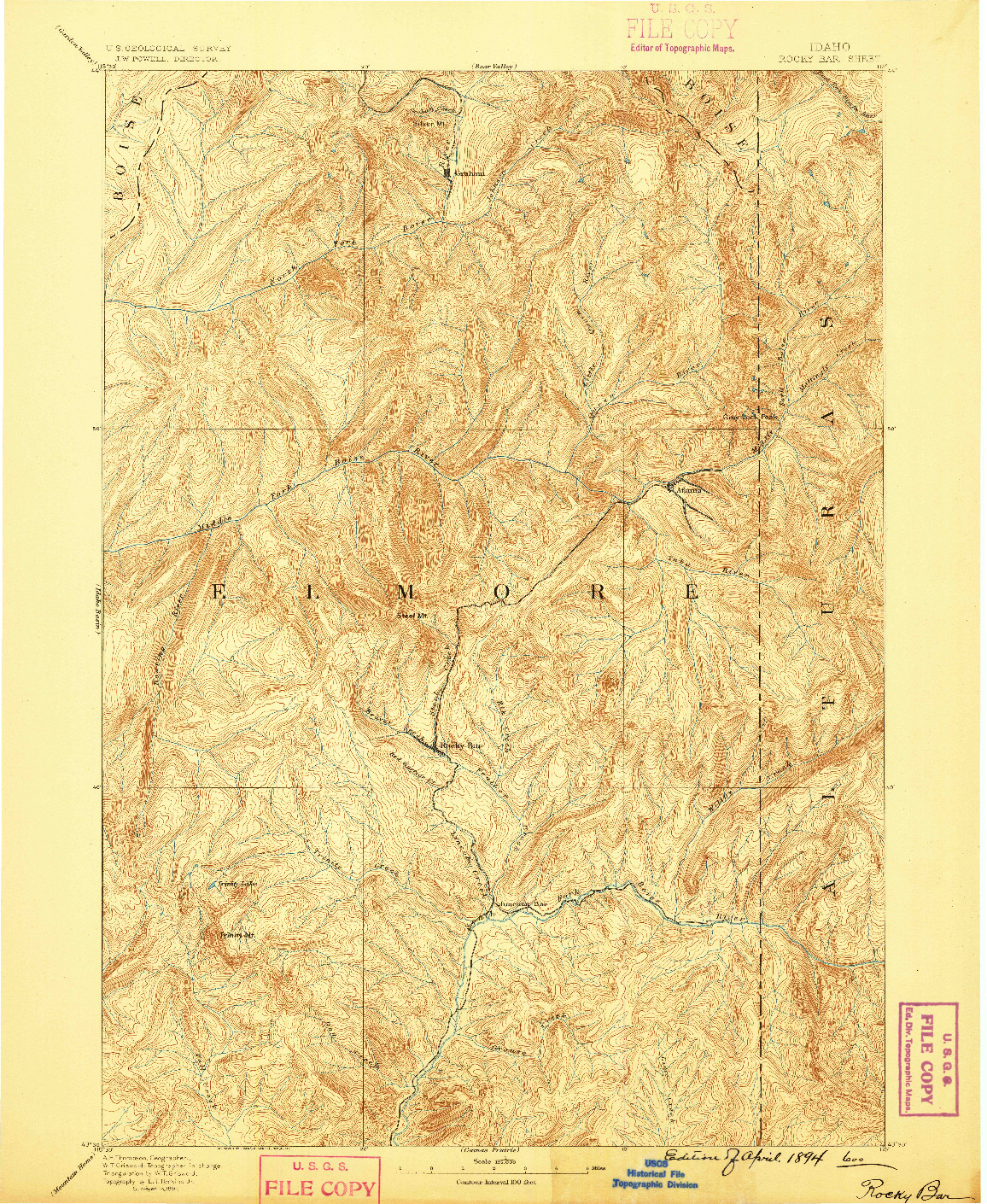 USGS 1:125000-SCALE QUADRANGLE FOR ROCKY BAR, ID 1894
