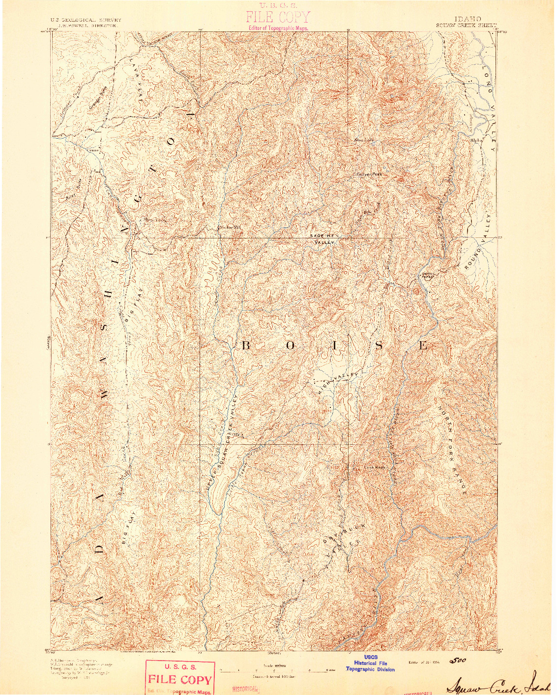 USGS 1:125000-SCALE QUADRANGLE FOR SQUAW CREEK, ID 1894