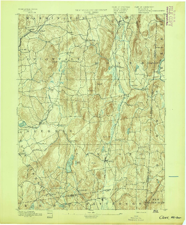 USGS 1:62500-SCALE QUADRANGLE FOR CLOVE, NY 1894