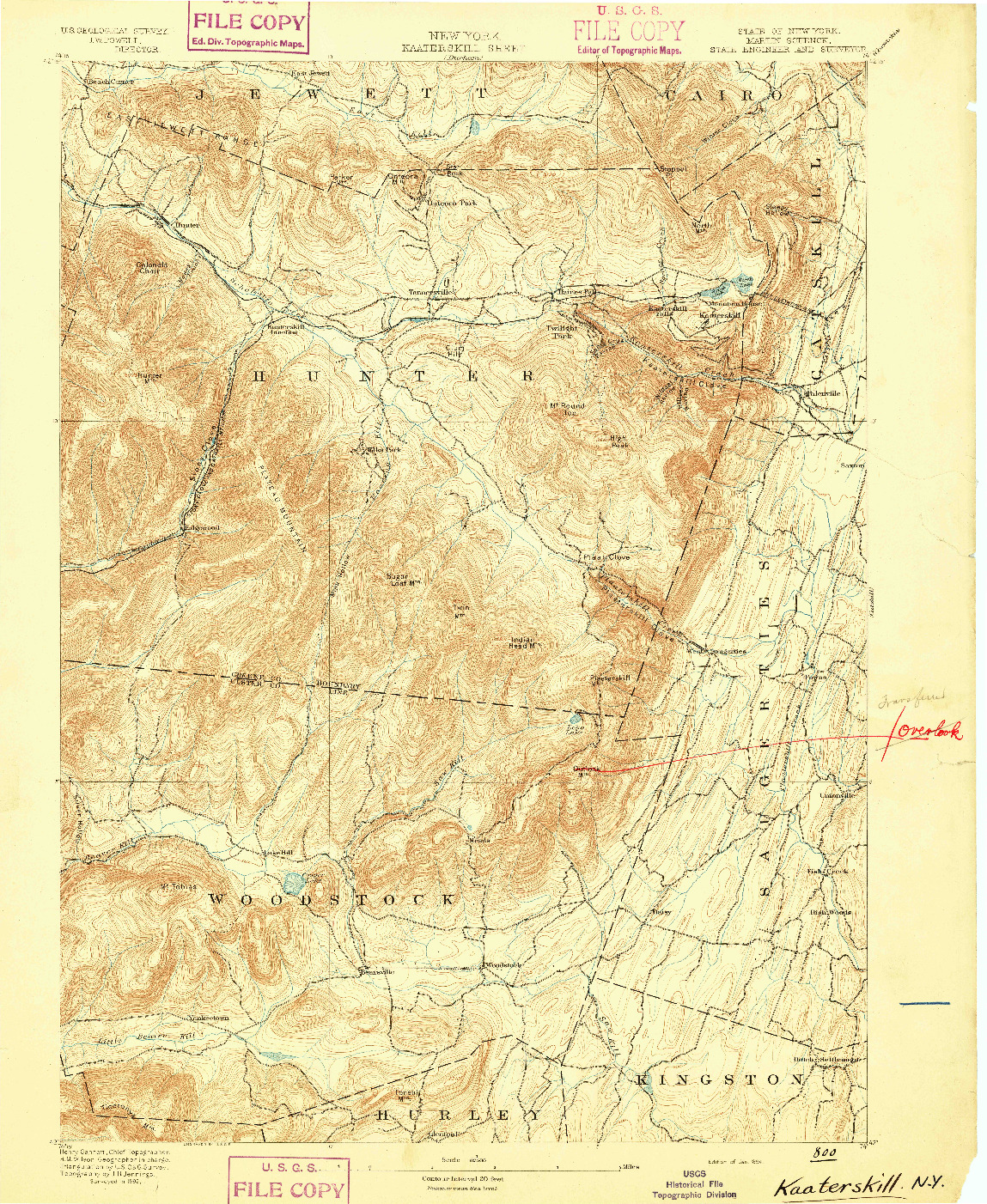 USGS 1:62500-SCALE QUADRANGLE FOR KAATERSKILL, NY 1894