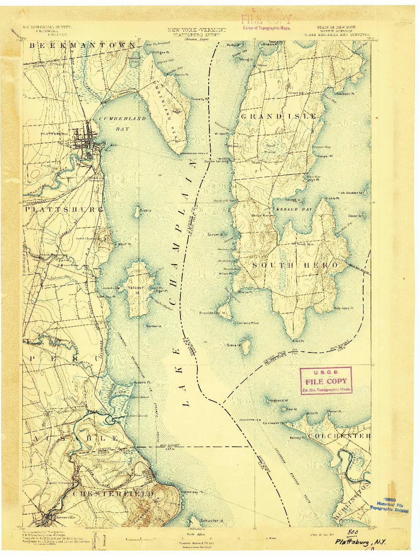 USGS 1:62500-SCALE QUADRANGLE FOR PLATTSBURG, NY 1894