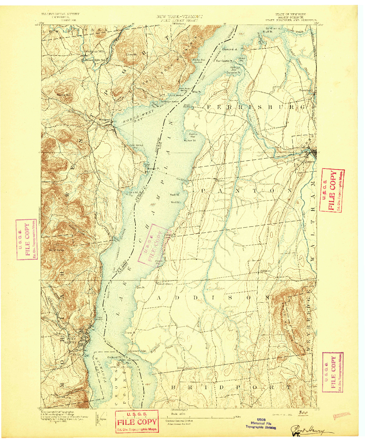 USGS 1:62500-SCALE QUADRANGLE FOR PORT HENRY, NY 1894