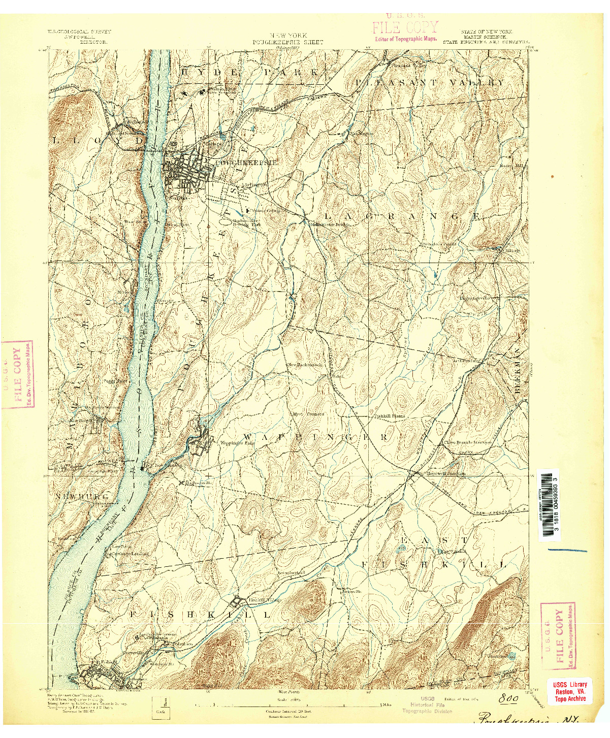 USGS 1:62500-SCALE QUADRANGLE FOR POUGHKEEPSIE, NY 1894