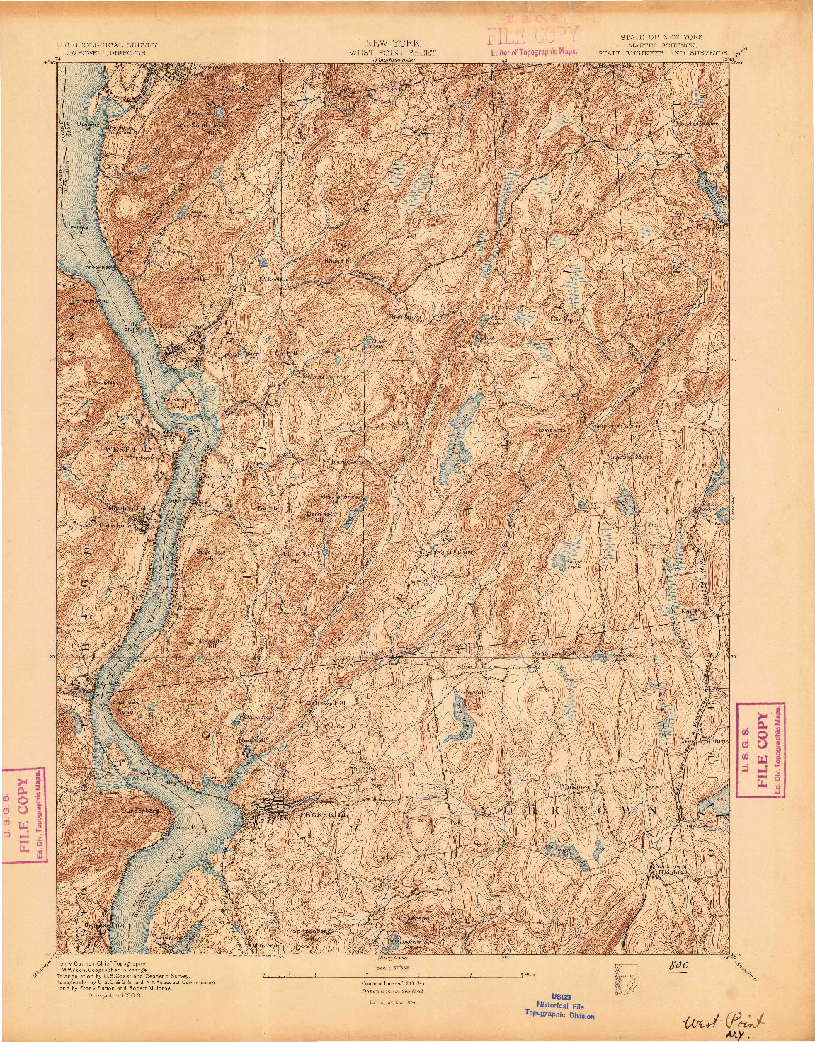 USGS 1:62500-SCALE QUADRANGLE FOR WEST POINT, NY 1894