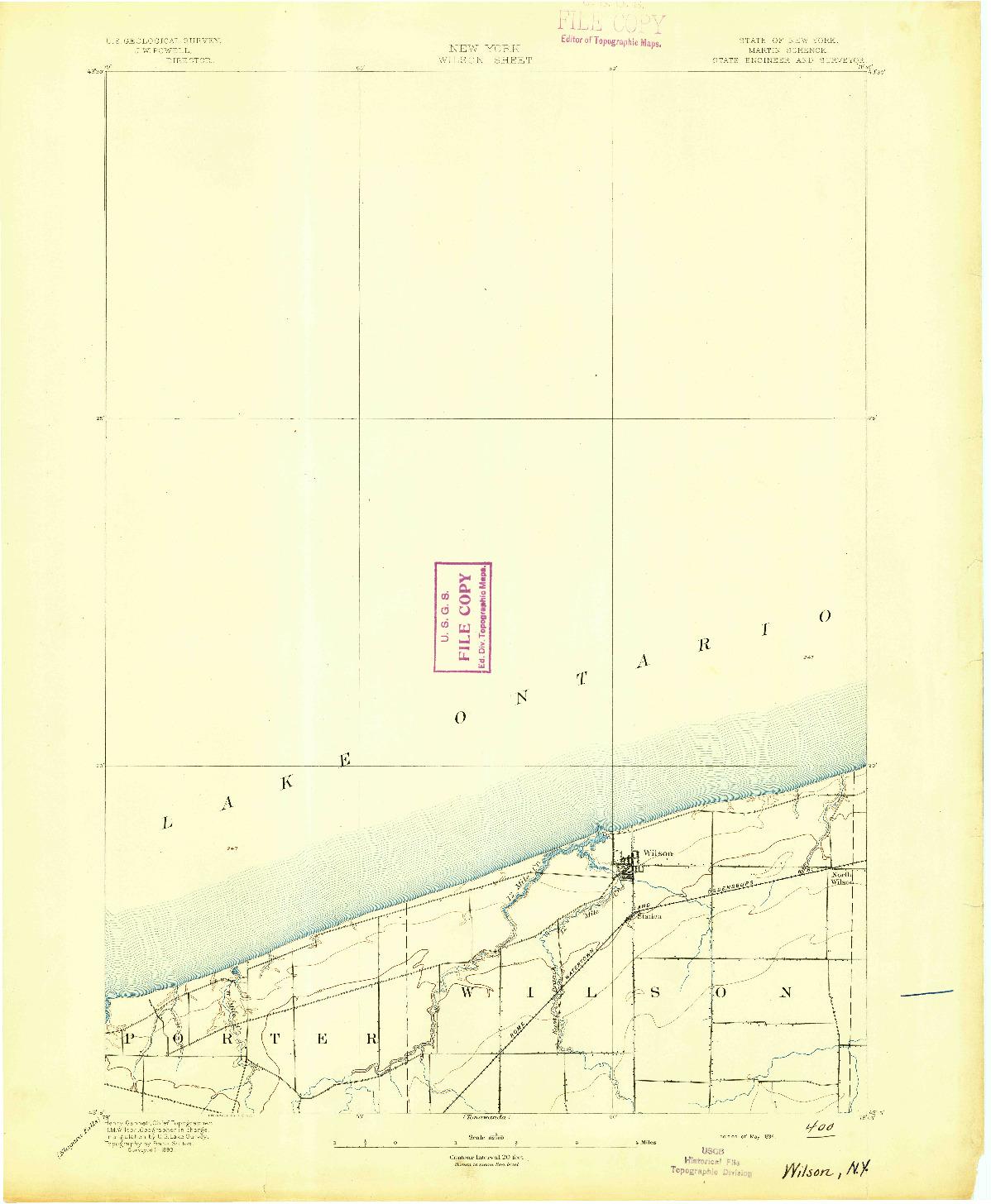 USGS 1:62500-SCALE QUADRANGLE FOR WILSON, NY 1894