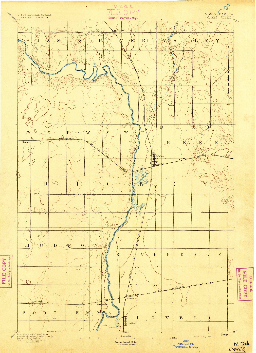USGS 1:62500-SCALE QUADRANGLE FOR OAKES, ND 1894