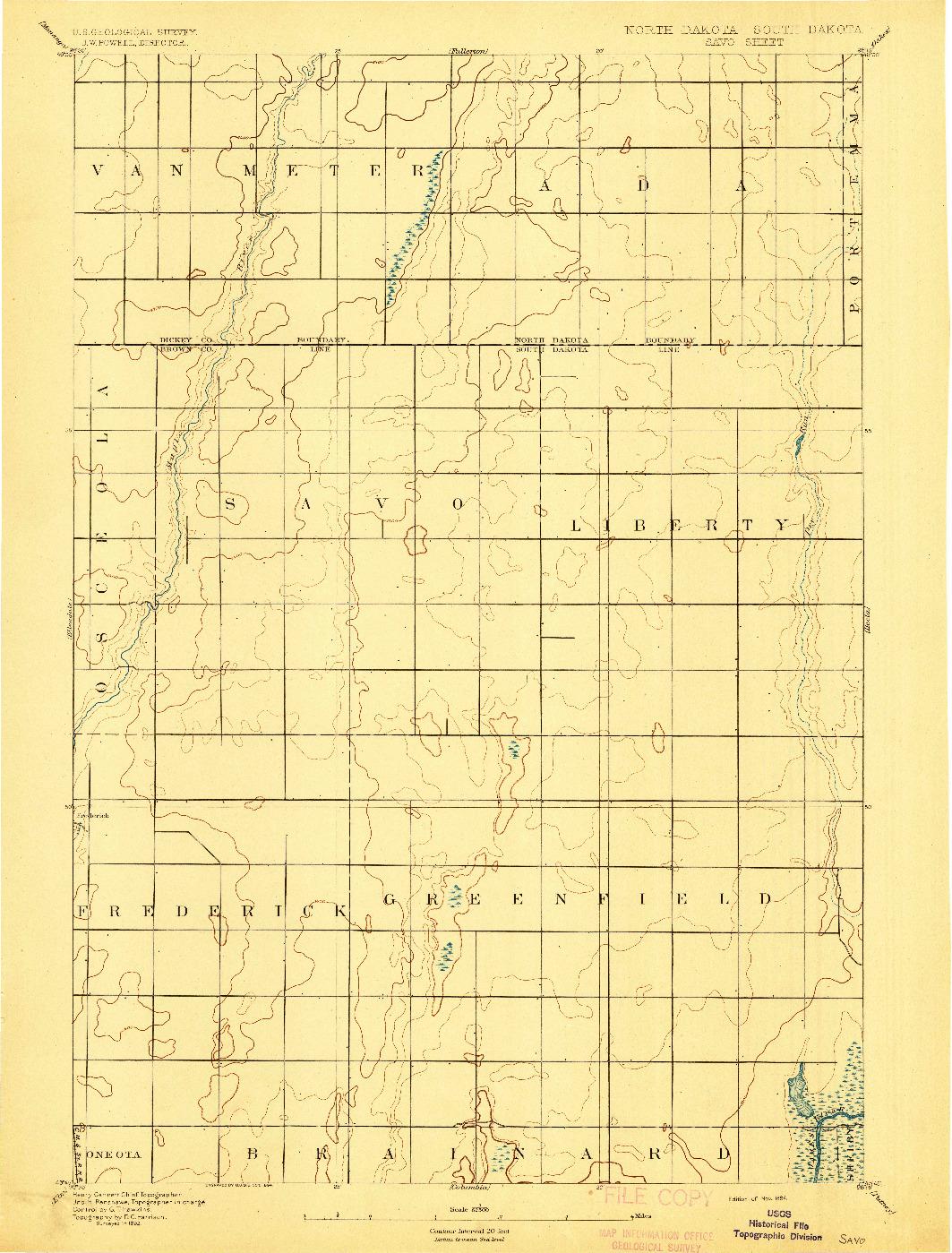 USGS 1:62500-SCALE QUADRANGLE FOR SAVO, ND 1894