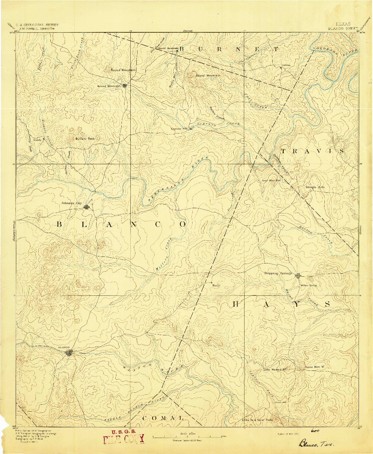 USGS 1:125000-SCALE QUADRANGLE FOR BLANCO, TX 1894