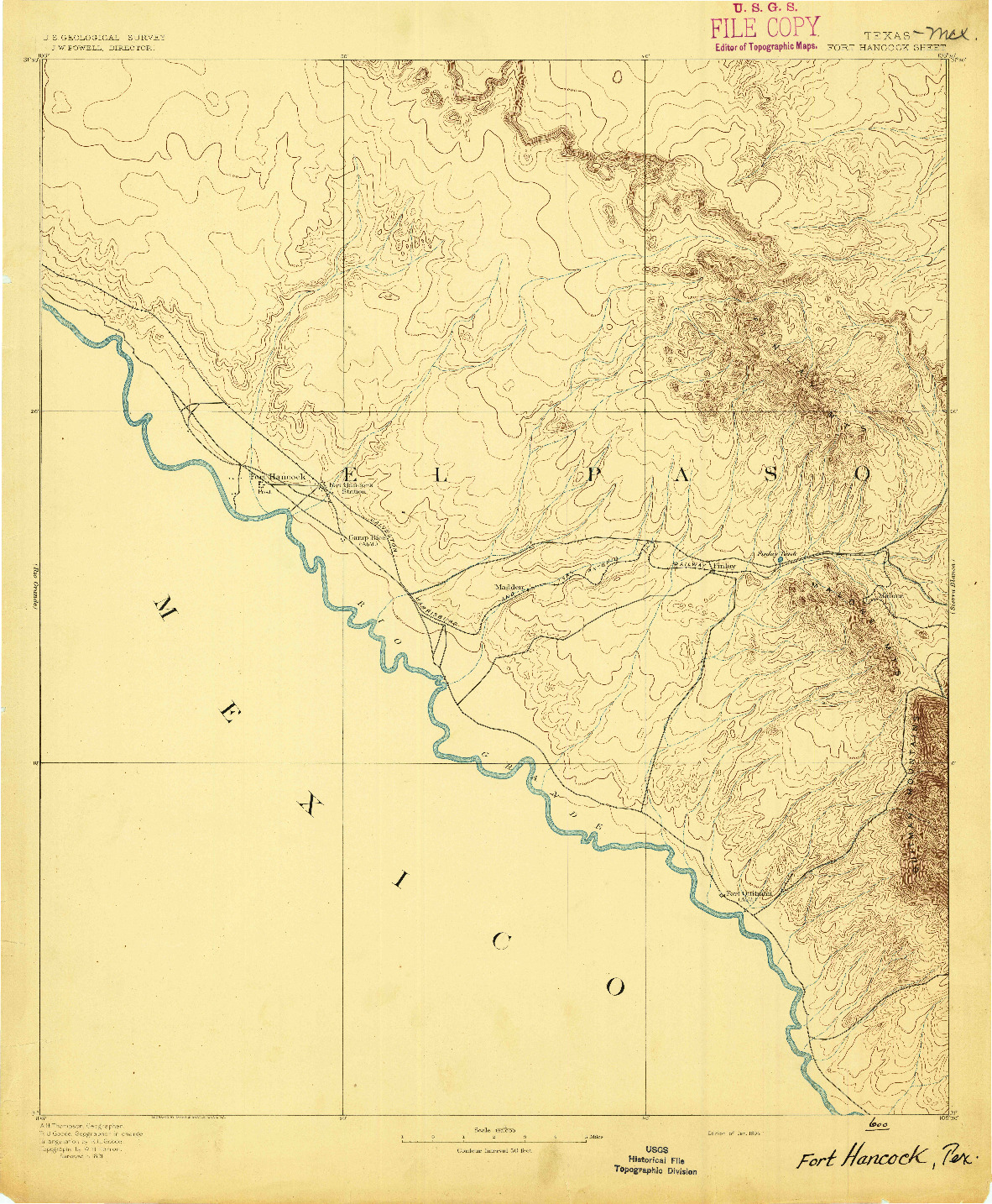 USGS 1:125000-SCALE QUADRANGLE FOR FORT HANCOCK, TX 1894