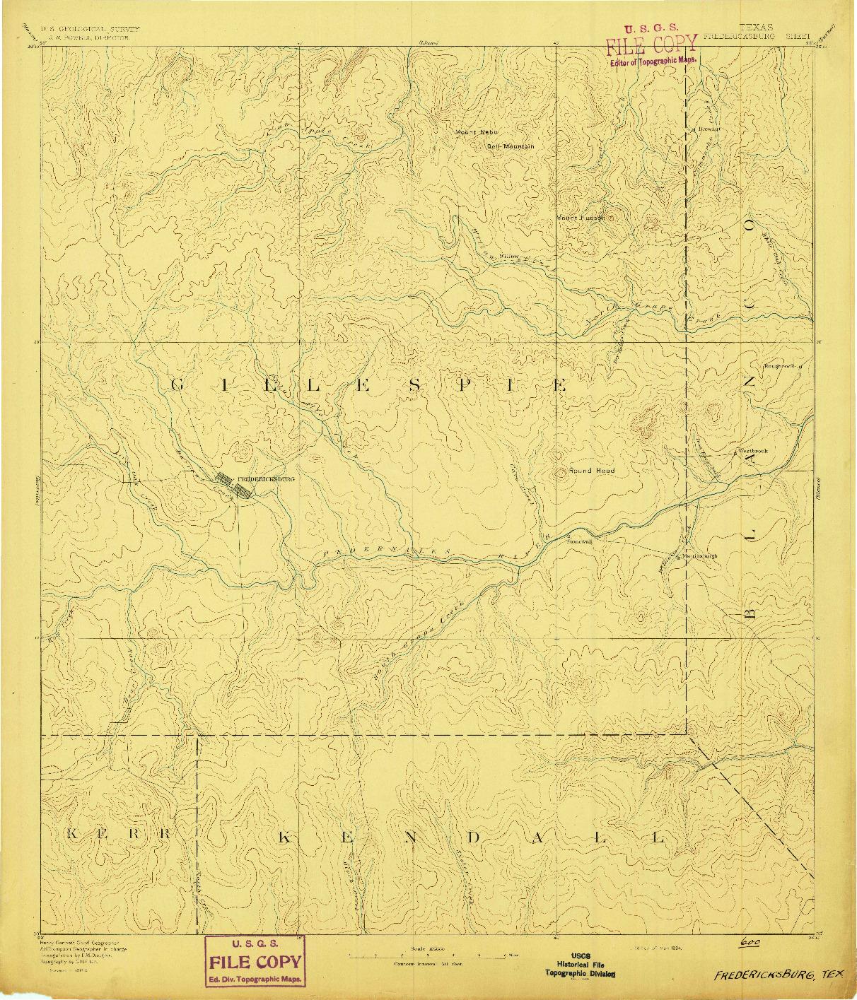 USGS 1:125000-SCALE QUADRANGLE FOR FREDERICKSBURG, TX 1894