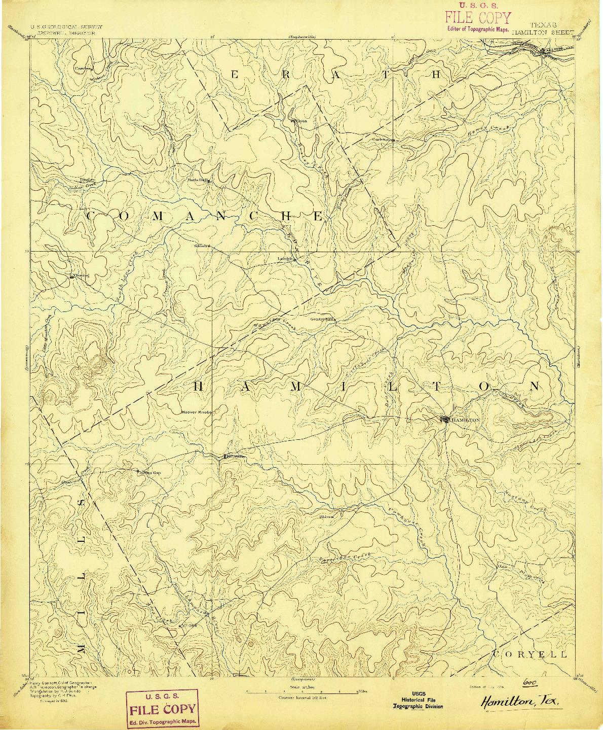 USGS 1:125000-SCALE QUADRANGLE FOR HAMILTON, TX 1894