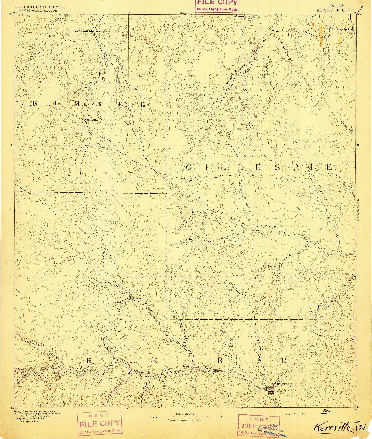 USGS 1:125000-SCALE QUADRANGLE FOR KERRVILLE, TX 1894