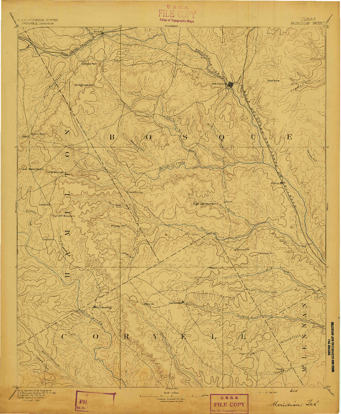 USGS 1:125000-SCALE QUADRANGLE FOR MERIDIAN, TX 1894