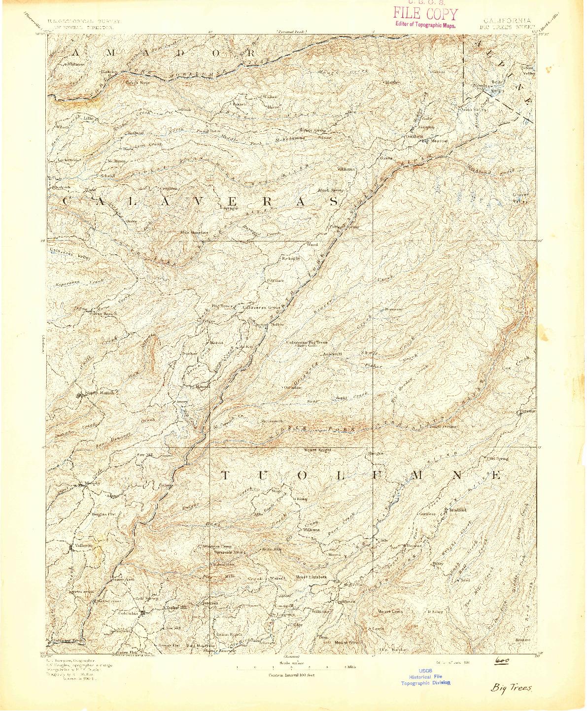 USGS 1:125000-SCALE QUADRANGLE FOR BIG TREES, CA 1894